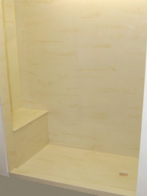 cultured marble shower with bench seat